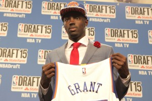 BROOKLYN, NY - JUNE 25:  Jerian Grant, the 19th overall pick of the NBA Draft by the New York Knicks, speaks at a press conference during the 2015 NBA Draft on June 25, 2015 at Barclays Center in Brooklyn, New York. NOTE TO USER: User expressly acknowledges and agrees that, by downloading and or using this photograph, User is consenting to the terms and conditions of the Getty Images License Agreement. Mandatory Copyright Notice: Copyright 2015 NBAE (Photo by Mark Westcott /NBAE via Getty Images)